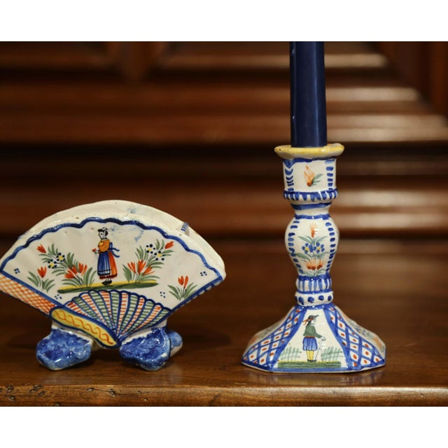 Mid 20th Century Mid-20th Century French Henriot Quimper Pair of Candlesicks With Matching Vase For Sale - Image 5 of 13