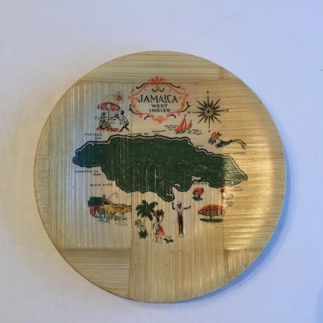 Jamaica Map Bamboo Coasters - Set of 4 For Sale - Image 5 of 6