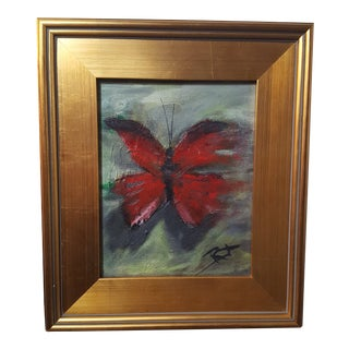 Butterfly Oil Painting, 8x10 Framed For Sale