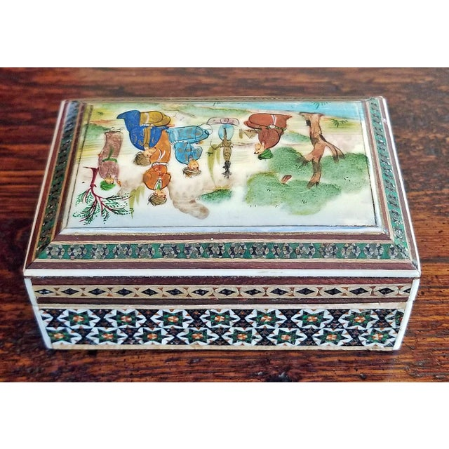 Persian Handpainted Khatam Mosaic Trinket Box For Sale - Image 4 of 9
