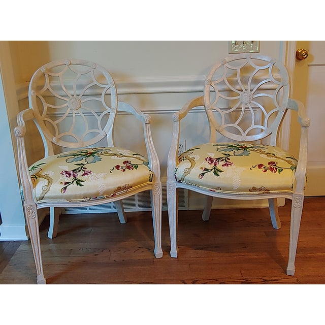 "Vintage 1970's arm chairs. Frame painted cream and off-white. Upholstered in Brunschwig & Fils ""Fabiano"" watered taffeta..."