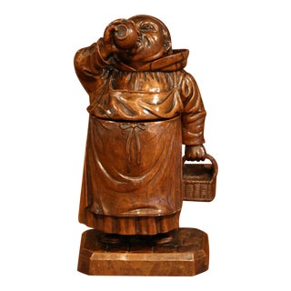 19th Century French Hand-Carved Patinated Walnut Drinking Monk Sculpture