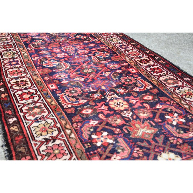 Vintage Mid-Century Floral Persian Hamedan Runner - 3′3″ × 9′7″ For Sale - Image 4 of 11