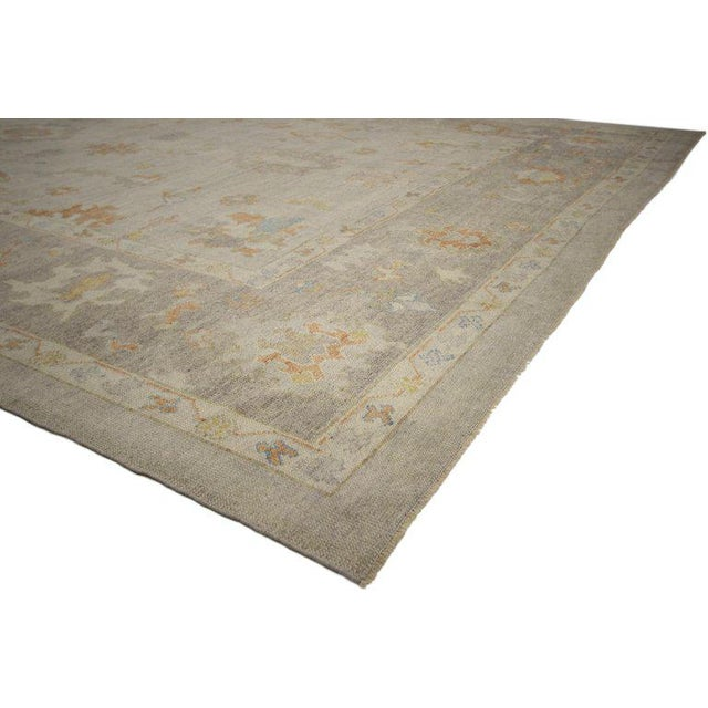 52374 Contemporary Turkish Oushak Area Rug with Neutral, Warm Colors 11'02 x 14'07. This hand knotted wool contemporary...