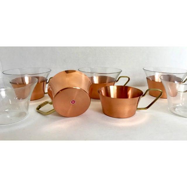 1950's Vintage Schott Mainz Jenaer German Glass Copper Tea Glasses- Set of 5 For Sale - Image 4 of 5