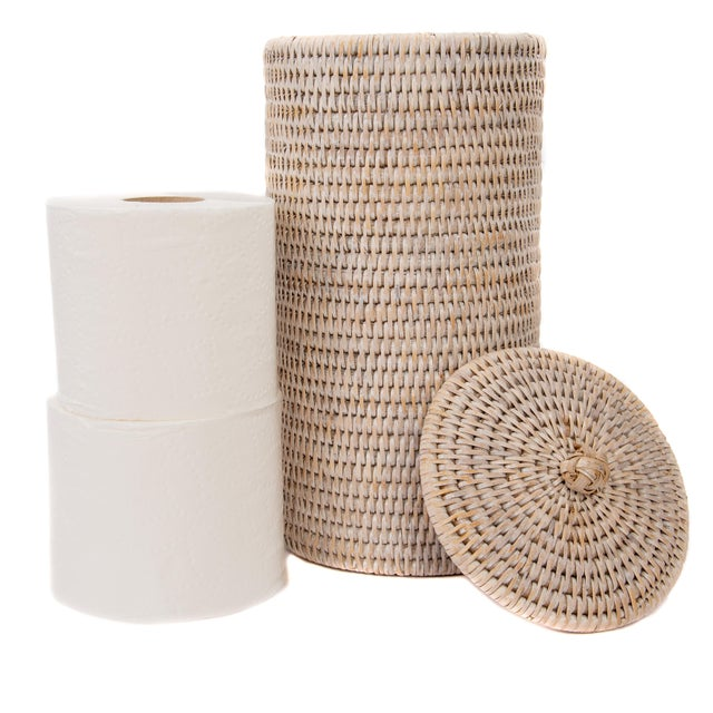 Boho Chic Artifacts Rattan Double Toilet Roll Holder For Sale - Image 3 of 4