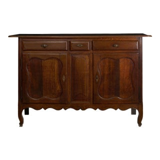 18th Century French Provincial Antique Oak Server Cabinet Console For Sale