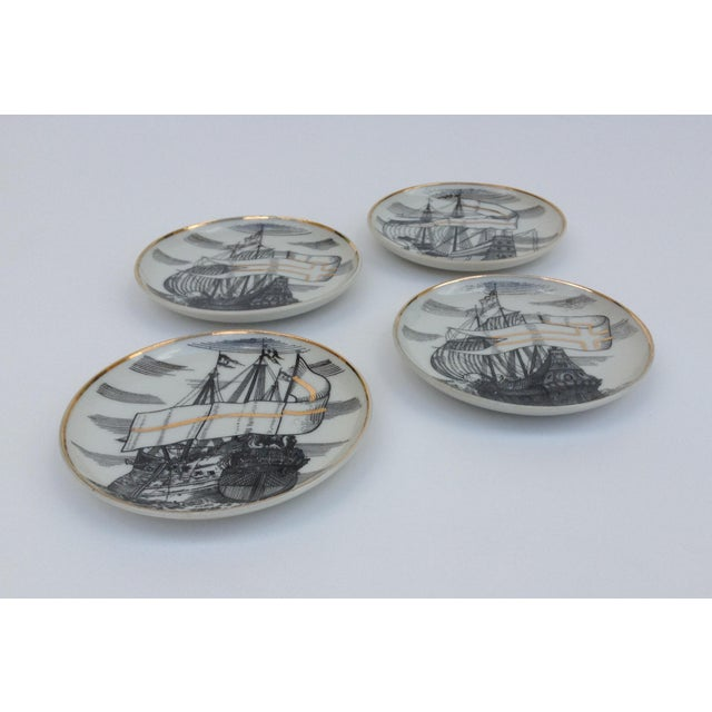 """Fornasetti Attr. Tall Ships """"Velieri"""" Coasters - Set of 4 For Sale - Image 9 of 11"""