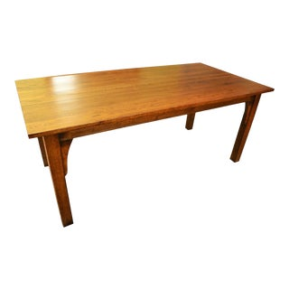 """Crafters and Weavers Mission 70"""" Solid Oak Dining Table - Walnut For Sale"""