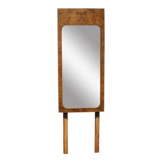 Lane Furniture Milo Baughman Style Mid-Century Modern Burl Wood Mirror For Sale