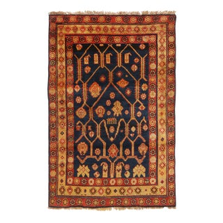 1940s Traditional Samarkand Khotan Red and Blue Wool Rug For Sale