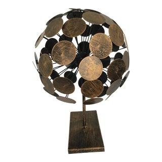Brutalist Metal Abstract Orb Sphere Sculpture For Sale