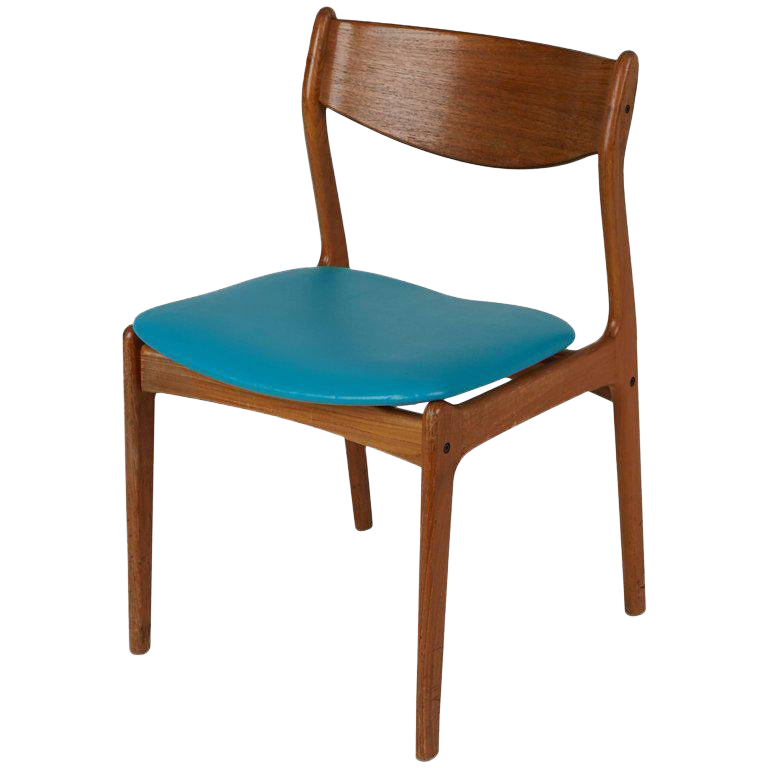Superbe Danish Modern Teak Side Chair With Teal Upholstery, Circa 1960