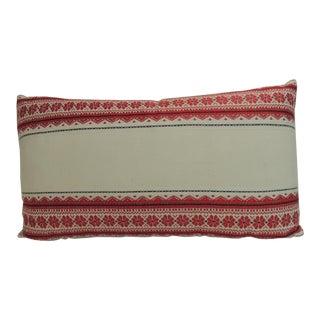 Vintage Ukrainian Woven Textile Bolster Boho Chic Style Decorative Pillow For Sale