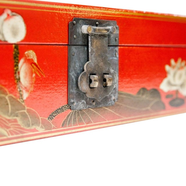 This lacquered water buffalo hide leather box on a brass stand features a hand-painted lotus pond with touches of gold and...