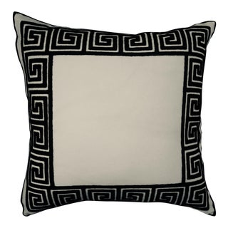 Greek Key Embroidered Border Pillow For Sale