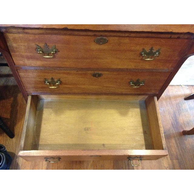 Brown Handmade Carved Slant Desk with the ID of John Hall, Quincy, Mass For Sale - Image 8 of 11