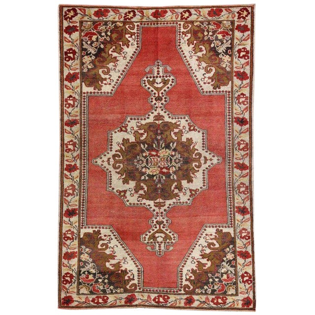 Vintage Mid-Century Turkish Oushak Rug - 4′6″ × 6′ For Sale