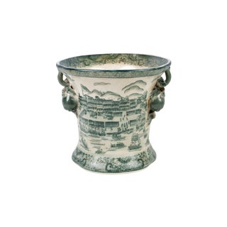 Dark Green and White Landscape Porcelain Pot For Sale