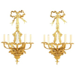 French Louis XVI Style Five-Arm Wall Sconces - a Pair For Sale
