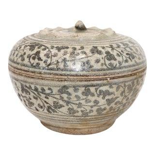 Antique Thai Sawankhalok Ceramic Box For Sale