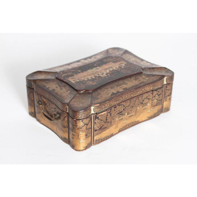 19th Century Chinese Export Chinoiserie Lacquer Sewing Box For Sale - Image 13 of 13
