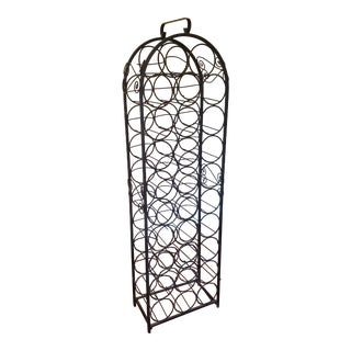 Vintage Wrought Iron Wine Rack For Sale