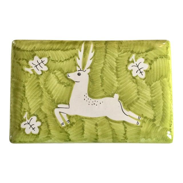 Italian Gamboni Cantagalli Style Majolica Leaping Stag Deer Motif Ceramic Lidded Box For Sale