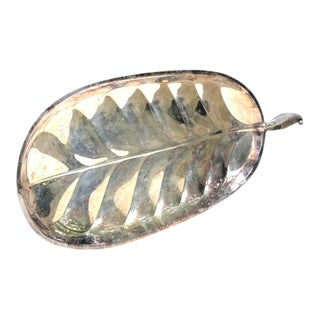 Vintage Silver Plate Leaf Tray For Sale
