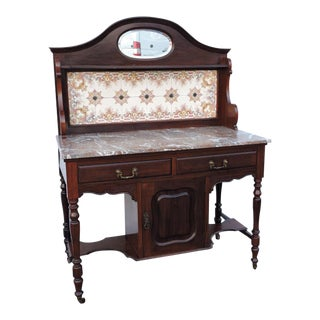 Victorian 1880s Two Part Tiled Marble Top Server Wash Stand Buffet For Sale