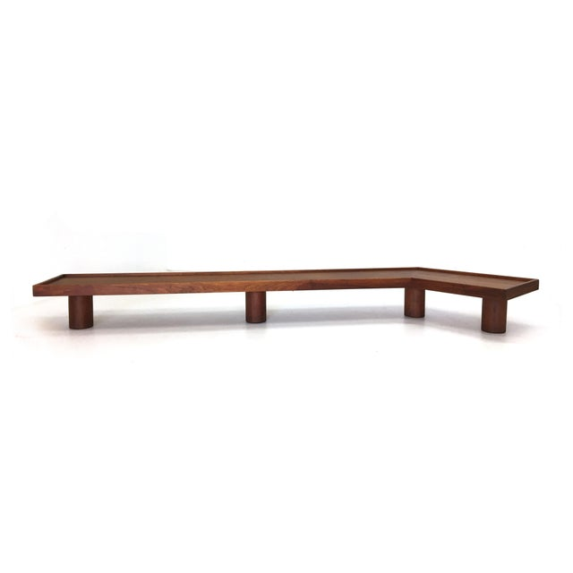 Mid Century Monumental Angled Walnut Bench - Image 2 of 6