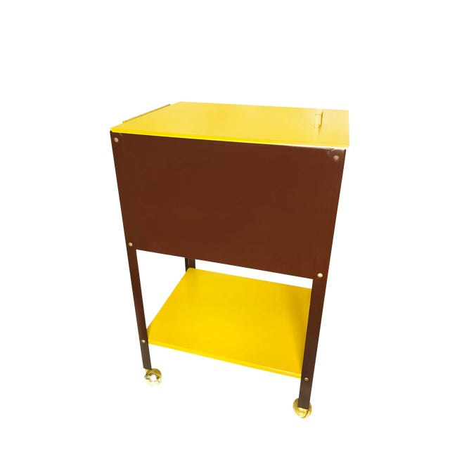 1970s Mid-Century Modern Wp Johnson Hanging Filing Cabinet on Wheels For Sale
