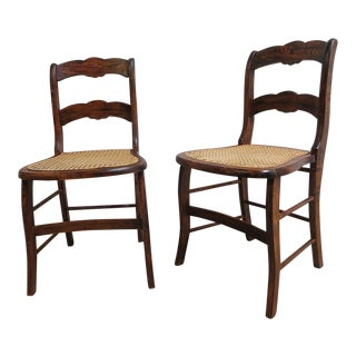 Antique Victorian Carved Faux Grain Painted Chairs - A Pair
