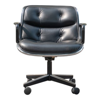 Pollock Executive Chairs in Black Leather by Charles Pollock for Knoll For Sale