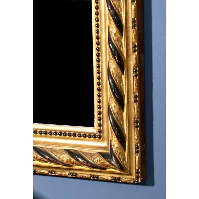 Louis Philippe 19th Century Louis Philippe Gilt and Ebonized Wall Mirror For Sale - Image 4 of 4