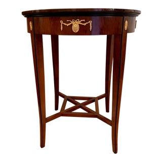 Biedermeier Round Accent or Side Table With Gilt Ormolu Accents For Sale