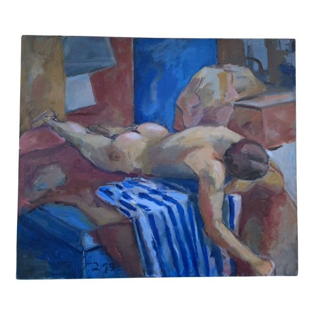 Nude Male Reclining Painting For Sale