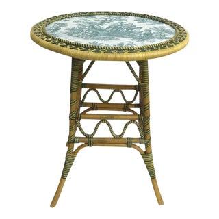 """Vintage """"Un Jardin en Plus"""" Rattan Table with Green Toile Top For Sale"""