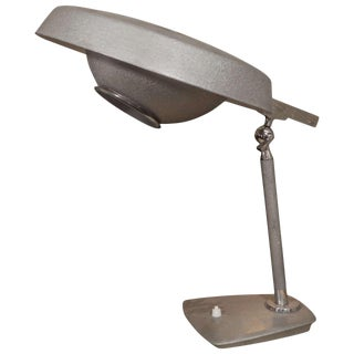 1950s English Grey Enamel Industrial Desk Lamp For Sale