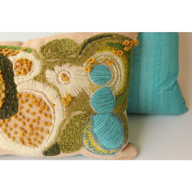 Abstract Floral Crewel Pillows - Pair - Image 4 of 6