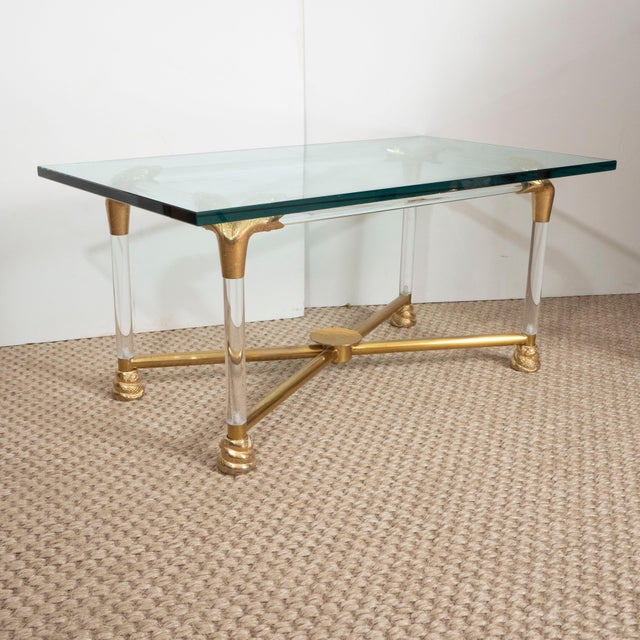1970s Brass and Glass Python Cocktail Table For Sale - Image 5 of 10