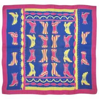 Whimsical C.1950 Baar & Beards Silk Scarf With Victorian Style Boots For Sale