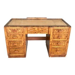 Vintage 1920's Maple & Co Art Deco Leather Top Partner Desk For Sale