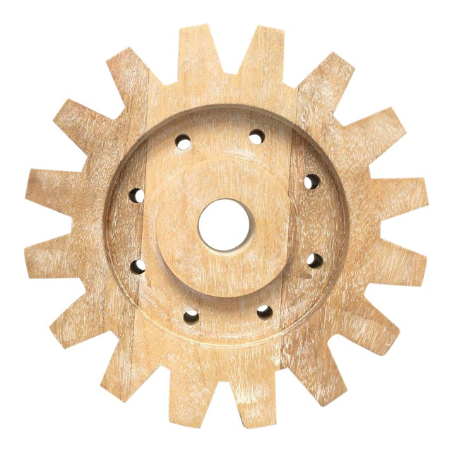 Industrial Rustic Modern Whitewashed Wood Cog Sculpture For Sale