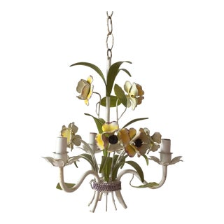 Italian Mid Century Tole Work Floral Chandelier For Sale