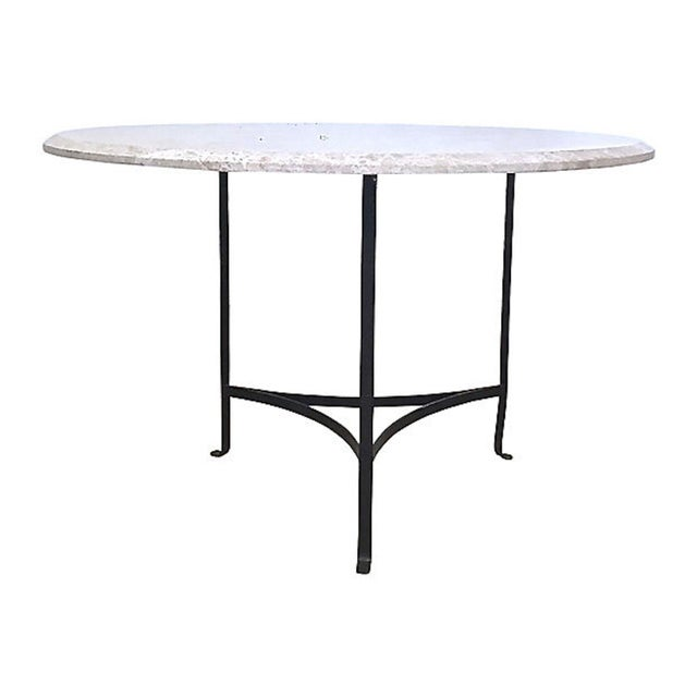 20th Century Contemporary Round Travertine & Iron Dining Table For Sale - Image 9 of 9