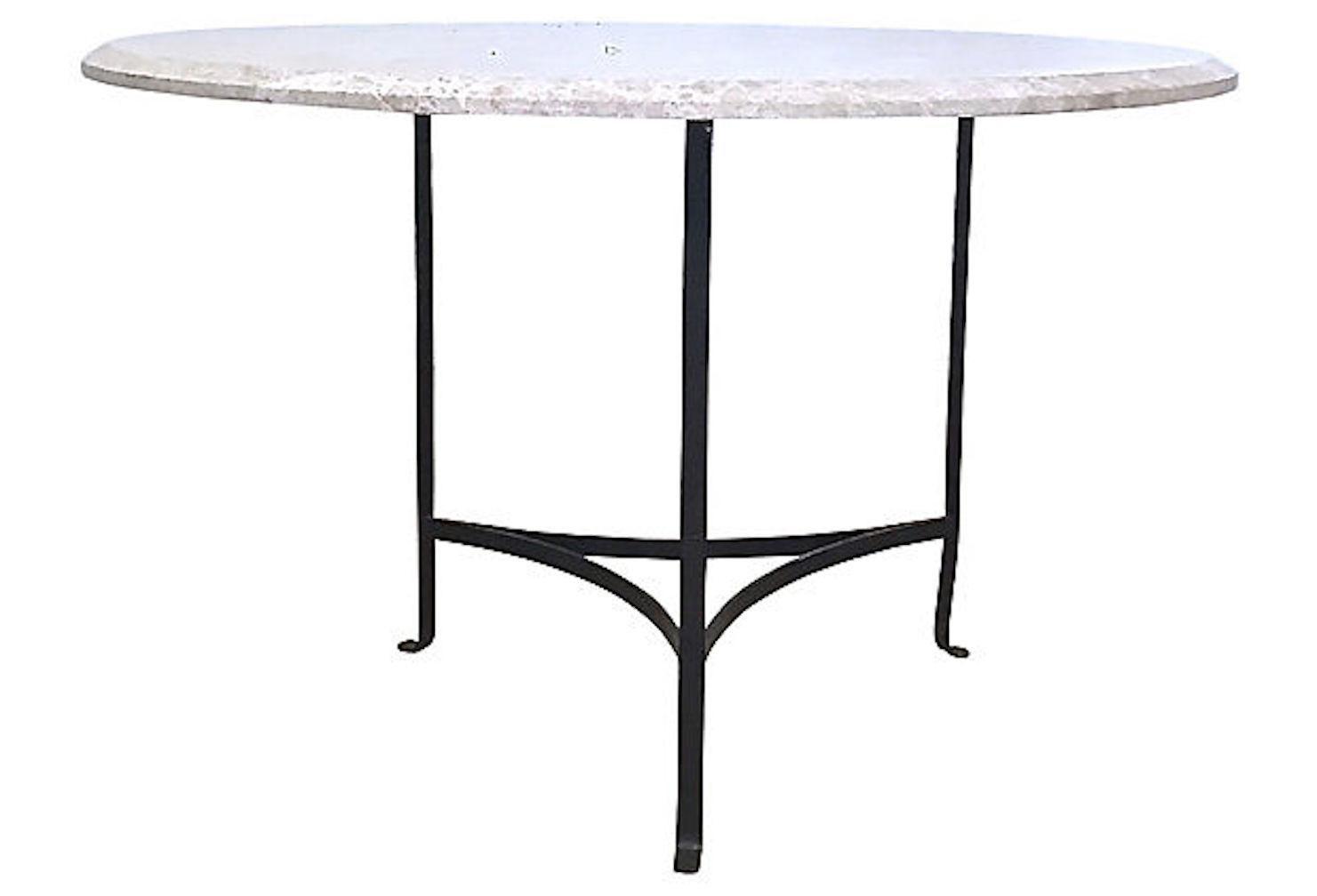 20th Century Contemporary Round Travertine U0026 Iron Dining Table For Sale    Image 9 ...