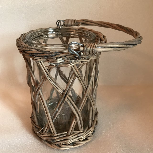 Wicker and Glass Vase With Handle For Sale - Image 4 of 8
