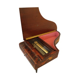 Vintage Mid-Century Swiss Music Box Wood Marquetry Piano For Sale