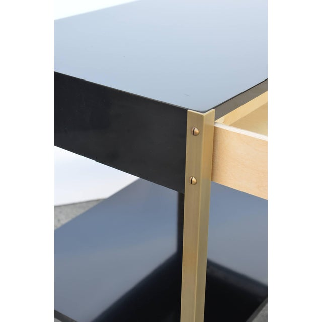 """2010s Contemporary Design Frères """"Laque"""" Black Lacquer and Brass Nightstands - a Pair For Sale - Image 5 of 9"""